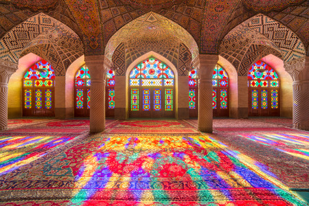 the architecture is ancient: Nasir Al-Mulk Mosque in Shiraz, Iran, also known as Pink Mosque