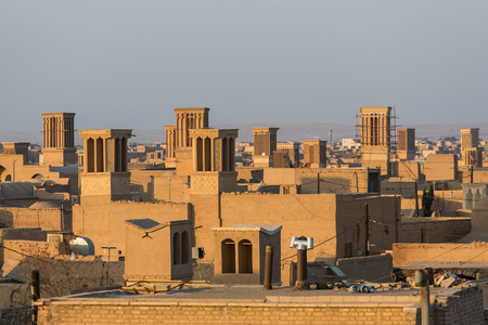 he old: Badgirs, he windcatchers on the roof of an old house in Yazd, Iran