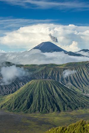 tengger: Mount Bromo and Batok volcanoes in Bromo Tengger Semeru National Park, East Java, Indonesia.