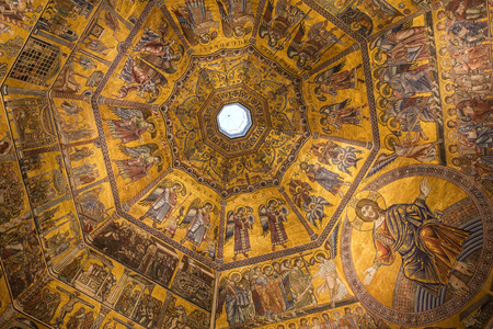 architectural interiors: Florence, Italy - September 17, 2015 : interiors and architectural details of Baptistery of saint John in Florence, Italy Stock Photo