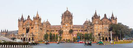 Chatrapati Shivaji Terminus earlier known as Victoria Terminus in Mumbai, India. Panorama Stock Photo