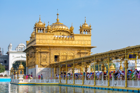 harmandir sahib: Amritsar, India - March 29, 2016: Golden Temple (Harmandir Sahib) in Amritsar, Punjab, India Stock Photo