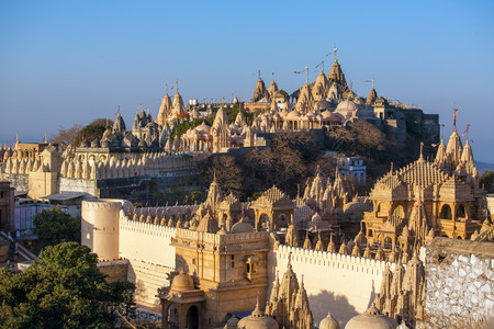 Jain temples on top of Shatrunjaya hill. Palitana (Bhavnagar district), Gujarat, India Stock Photo
