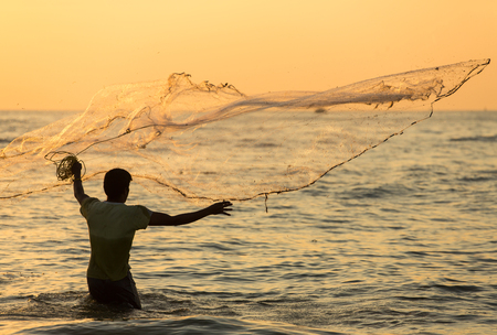 chinese fishing nets: Silhouette of the unidentified Indian fisherman throwing net in sea on sunset in Fort Kochi, India.