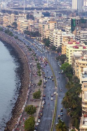 Mumbai, India - February 28, 2016: aerial view of Marine Drive in Mumbai, India. Stock Photo