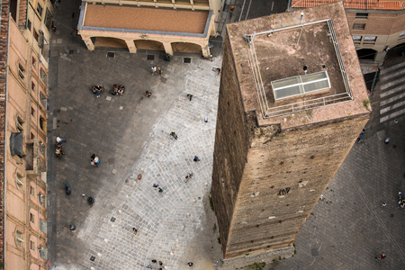 torri: Aerial view of red tiled rooftops and ancient �Due Torri� towers in historical center of Bologna, Italy