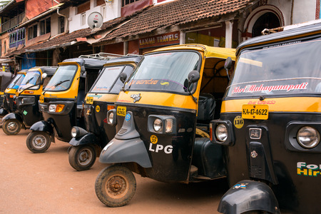 three wheeler: Gokarna, India - January 19, 2016: Tuk-tuks or motor rikshaw waiting for pasangers in Gokarna, Karnataka, India