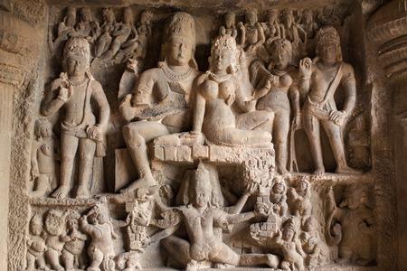 maharashtra: Carving in Ellora caves near Aurangabad, Maharashtra state in India Stock Photo