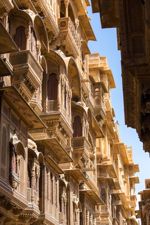 rajput: Nathmalji ki Haveli at Jaisalmer, India. Architectural detail Editorial