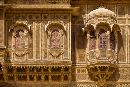 ki: Nathmalji ki Haveli at Jaisalmer, India. Architectural detail Editorial