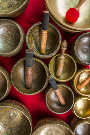 singing bowls: Singing Bowls (Cup of life) - popular souvenier in Nepal, Tibet and India. View from the top