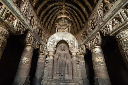 maharashtra: Statue of Buddha in Ellora caves near Aurangabad, Maharashtra state in India Editorial
