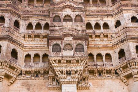 maharaja: Mehrangarh fort close-up in Jodhpur, Rajasthan, India