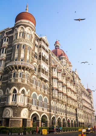 maharashtra: Taj Mahal Hotel, five star luxury hotel located near Gateway of India and one of the famous buildings in Mumbai, India. Wide angle shot Editorial