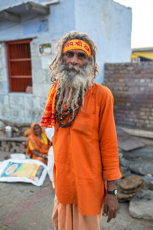 Vrindavan, India - March 16, 2016: An unidentified sadhu - Hindu holy man, portrait in Vrindavan, India. Editorial