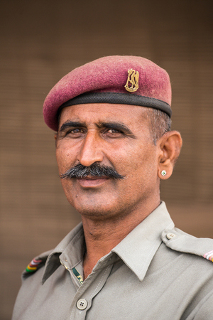 Jodhpur, India - March 7, 2016: Portrait of a unidentified military guard of Mehrangarh Fort in Jodhpur, India. Editorial