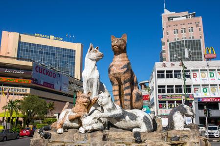 Kuching, Malaysia - May 29, 2016: Cats monument at the downtown Kuching, Malaysia.