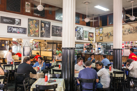 leopold: Mumbai, India - February 27, 2016: Interior of famous Leopold cafe in Mumbai, India Editorial