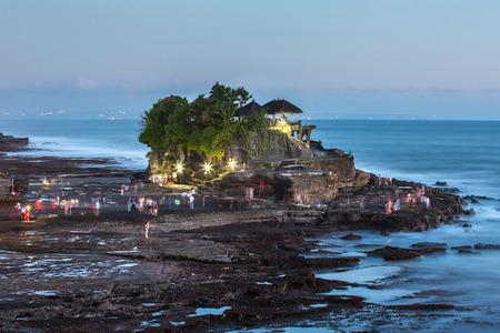Famous Tanah Lot temple at twilight, Bali, Indonesia Stock Photo