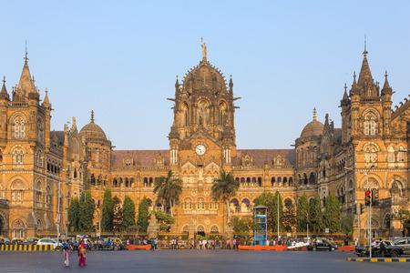 terminus: Mumbai, India - February 27, 2016: Chatrapati Shivaji Terminus earlier known as Victoria Terminus in Mumbai, India. Panorama Editorial
