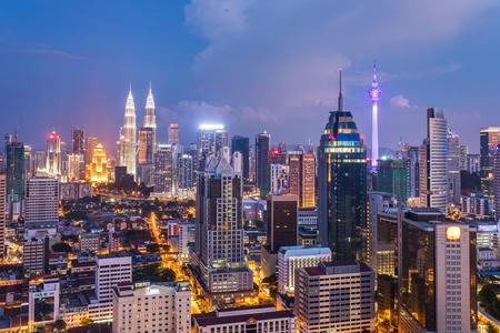 Kuala Lumpur, Malaysia - September 24, 2016: Kuala Lumpur city view with famous Petronas towers and Menara KL tower, Malaysia Editorial