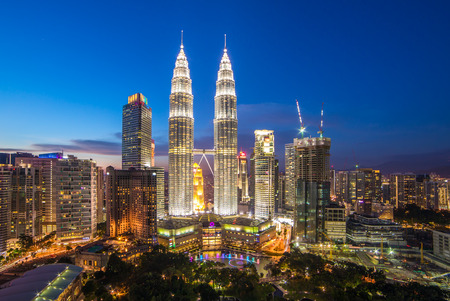 Kuala Lumpur, Malaysia - September 22, 2016: Famous Petronas Towers at night In Kuala Lumpur, Malaysia.