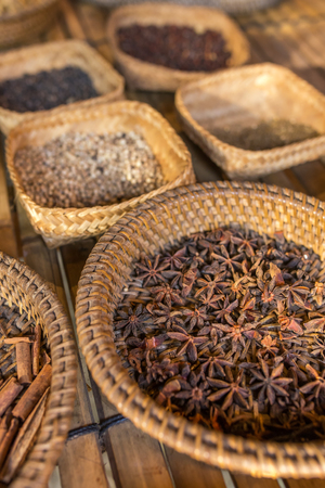 Demonstration of different spices in balinese village Stock Photo