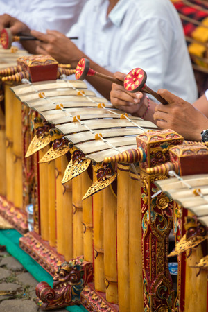 traditional: Traditional Balinese music instrument gamelan Close-up decoration details. Stock Photo