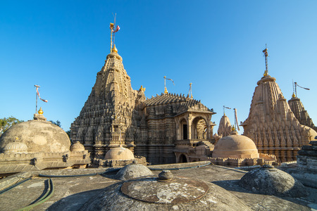 jainism: Jain temples on top of Shatrunjaya hill. Palitana (Bhavnagar district), Gujarat, India Stock Photo