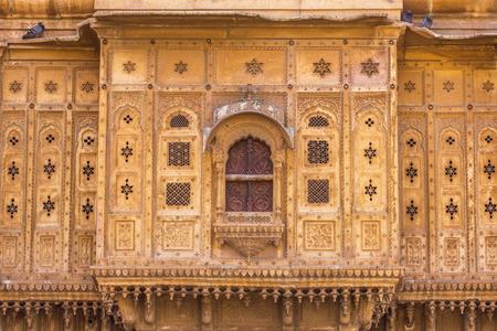 Nathmalji ki Haveli at Jaisalmer, India. Architectural detail Stock Photo