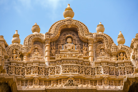 Detail of the Jain temple in Jaisalmer, India.
