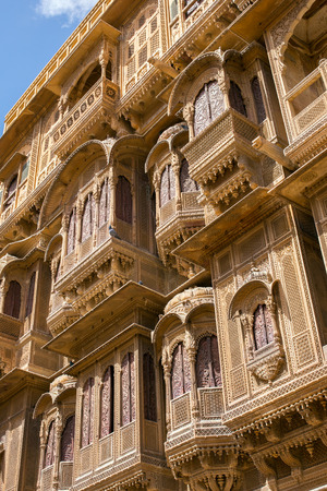 Nathmalji ki Haveli at Jaisalmer, India. Architectural detail Editorial