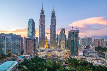 tallest bridge: Kuala Lumpur, Malaysia - September 23, 2016: Petronas towers and Kuala Lumpur city skyline, Malaysia Editorial