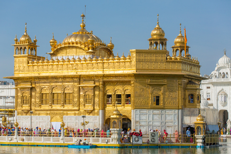Amritsar, India - March 29, 2016: Golden Temple (Harmandir Sahib) in Amritsar, Punjab, India Editorial
