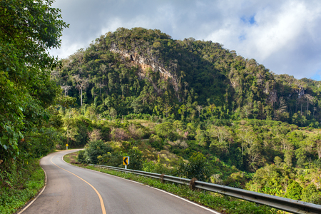 Beautiful mountain road in Doi Ang Khang National Park, Northern Thailand.