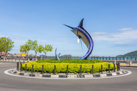 Kota Kinabalu - June 8, 2016: Marlin statue in Kota Kinabalu, Malaysia Editorial