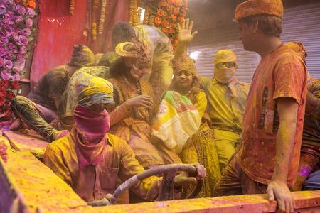 Mathura, India. March 23, 2016. Colourful Holi procession on the streets of Mathura, Uttar Pradesh, India.