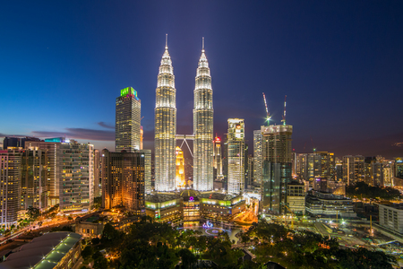 tallest bridge: Kuala Lumpur, Malaysia - September 22, 2016: Famous Petronas Towers at night In Kuala Lumpur, Malaysia.