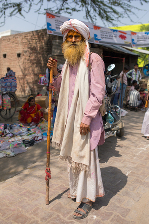 Nandgaon, India - March 18, 2016: Portrait of an unidentified indian senior man in Nandgaon, Uttar Pradesh, India. Editorial