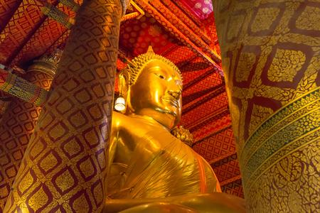 Big Buddha statue at Wat Phanan Choeng Temple in Ayutthaya Historical Park, Thailand.