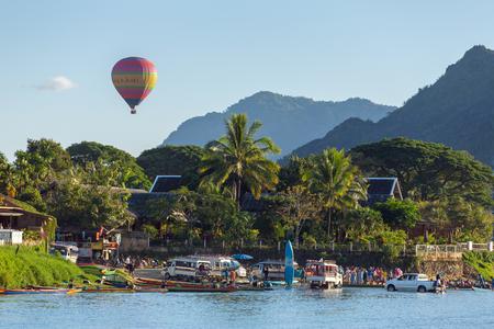 Vang Vieng, Laos - January 19, 2017: Hot air baloon in sky in Vang Vieng, Laos.