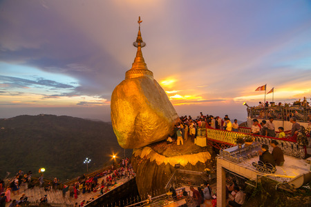 Kyaikhtiyo, Myanmar - October 15, 2016: Kyaiktiyo pagoda or Golden rock in Myanmar.