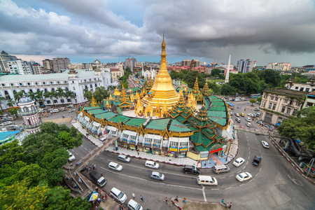 Yangon, Myanmar - September 26, 2016: Sule pagoda in Yangon, Myanmar