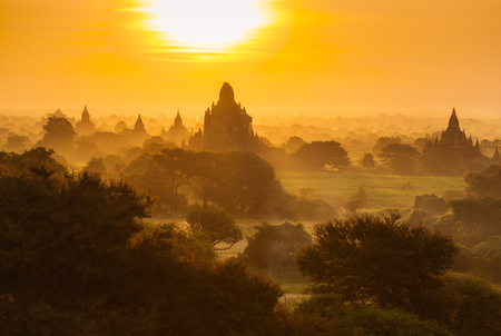 Beautiful sunrise over the ancient pagodas in Bagan, Myanmar Stock Photo