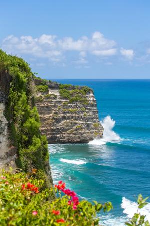 Uluwatu cliff and blue ocean in Bali, Indonesia