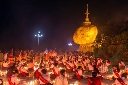 holy night: Kyaikhtiyo, Myanmar -October 15, 2016: Kyaiktiyo pagoda, Golden rock in Myanmar.