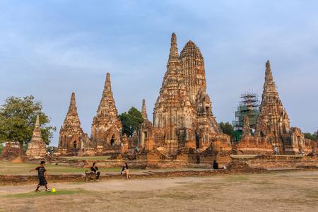 Ayutthaya, Thailand - March 2, 2017: Wat Chaiwatthanaram Temple in Ayutthaya Historical Park, Thailand Editorial