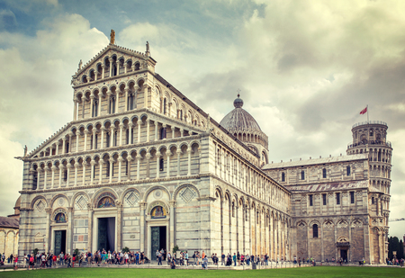 Pisa, Italy - September 14, 2015: Leaning tower and Cathedral in Pisa, Italy
