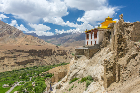 Beautiful Ladakh landscape with a Buddhist monastery and green valley in Mulbek, Jammu and Kashmir state, India Stock Photo
