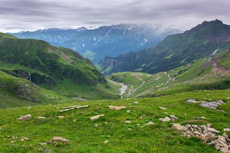 View from Rohtang pass at beautiful green valley, Himachal Pradesh, India